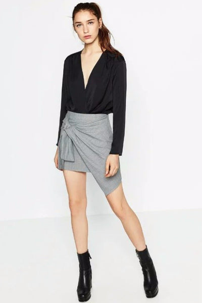 Skirt - Eliza Gingham Knot Front Mini Skirt