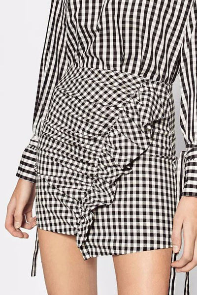 Skirt - Frankie Gingham Ruffled Mini Skirt