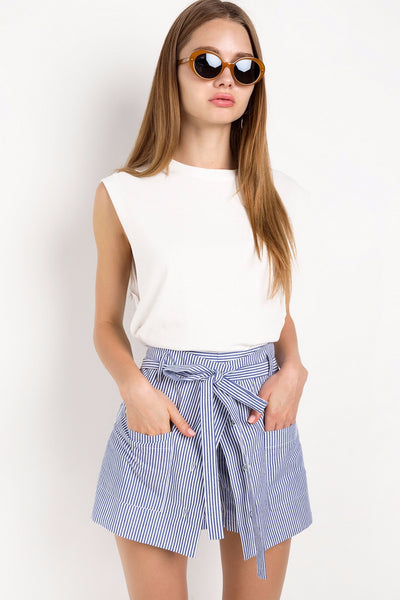 Skirt - Gabrielle Blue and White Striped High-Waisted Skort