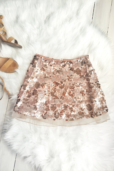 Skirt - Giselle Sequin Rose Gold Mesh Mini Skirt