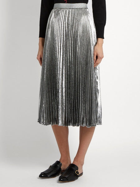 Skirt - Stevie Silver Metallic Pleated High Waisted Midi Skirt Front