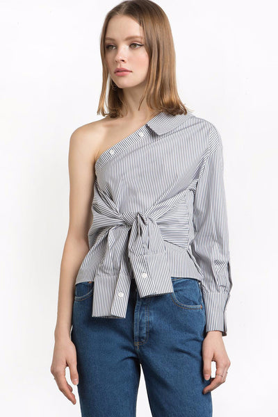 Top - Johanna Striped One Shoulder Tie Top