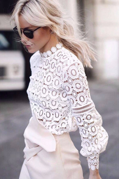 Top - Sisley White Lace Crochet Long Sleeve Blouse