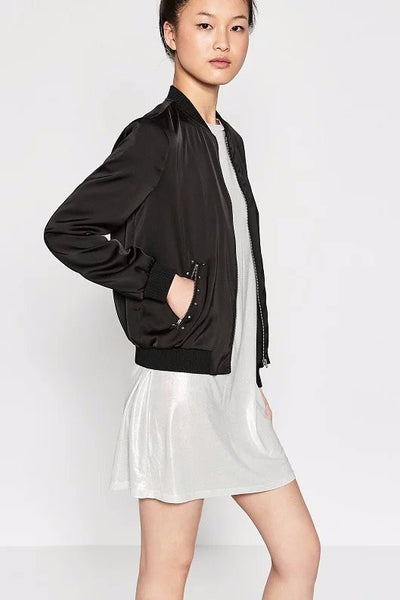 Top - Whatever Embroidered Black Bomber Jacket