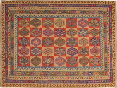 "A10026, 8' 1"" X 11' 3"",Geometric                     ,8' x 11',Natural,BLUE,Hand-woven                    ,Pakistan   ,100% Wool  ,Rectangle  ,652671187667"