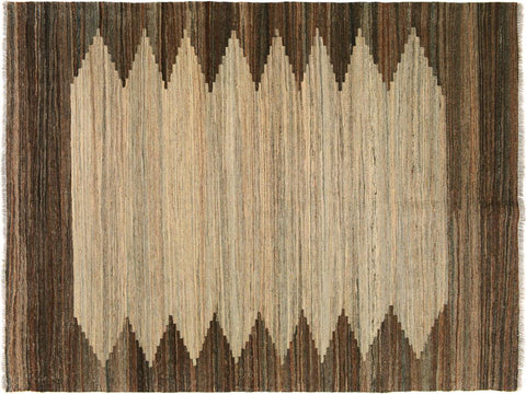 "A10066, 5' 2"" X  6' 3"",Geometric  ,5' x 6',Tan,BROWN,Hand-woven                    ,Pakistan   ,100% Wool  ,Rectangle  ,652671188060"