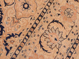 handmade Traditional Kashan Beige Blue Hand Knotted RECTANGLE 100% WOOL area rug 8x10 Hand knotted indoor Pak Persian vegetable dyed area rug made for all rooms with high quality New Zealand wool in rich color pallet weaved by skilled artisans in traditional transitional design known for quality and affordable price. Oriental rug offered at cheap discount for any decor, with Persian weave(KPSI upto 300)