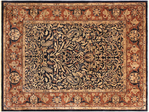 handmade Traditional Lahore Blue Brown Hand Knotted RECTANGLE 100% WOOL area rug 8x10