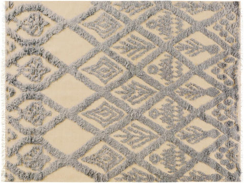 "A10122, 5' 0"" X  7' 0"",Modern                        ,5' x 7',Natural,BLUE,Hand-knotted                  ,Pakistan   ,100% Wool  ,Rectangle  ,652671188626"