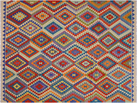 "A10161, 8' 1"" X  9' 7"",Geometric                     ,8' x 10',Natural,BLUE,Hand-woven                    ,Pakistan   ,100% Wool  ,Rectangle  ,652671188992"