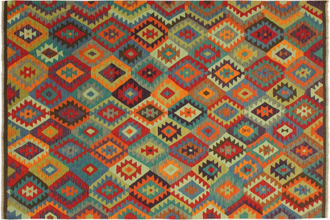 "A10165, 6' 9"" X  9' 9"",Geometric                     ,7' x 10',Brown,BLUE,Hand-woven                    ,Pakistan   ,100% Wool  ,Rectangle  ,652671189036"