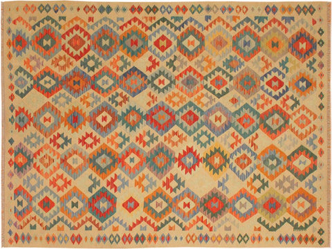 "A10168, 6' 6"" X  9' 7"",Geometric                     ,7' x 10',Tan,BLUE,Hand-woven                    ,Pakistan   ,100% Wool  ,Rectangle  ,652671189067"