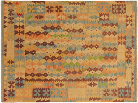 "A10190, 5' 2"" X  6'10"",Geometric                     ,5' x 7',Blue,BROWN,Hand-woven                    ,Pakistan   ,100% Wool  ,Rectangle  ,652671189289"