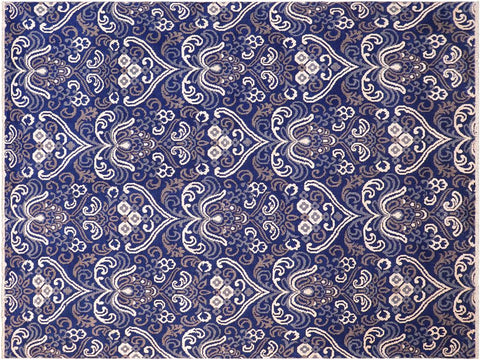 "A10304, 7'10"" X  9'11"",Traditional                   ,8' x 10',Blue,IVORY,Hand-knotted                  ,Pakistan   ,Wool&viscou,Rectangle  ,652671190414"