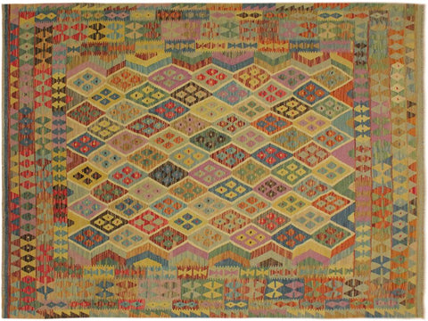 "A10320, 6' 7"" X  9' 6"",Geometric                     ,6' x 9',Blue,BEIGE,Hand-woven                    ,Pakistan   ,100% Wool  ,Rectangle  ,652671190537"