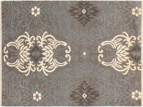 "A10324, 4' 2"" X  6' 0"",Modern                        ,4' x 6',Grey,IVORY,Hand-knotted                  ,Pakistan   ,Wool&viscou,Rectangle  ,652671190575"