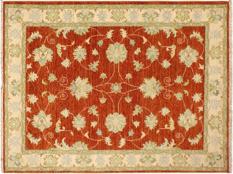 "A10334, 3' 4"" X  4'11"",Traditional                   ,3' x 5',Rust,IVORY,Hand-knotted                  ,Pakistan   ,100% Wool  ,Rectangle  ,652671190674"
