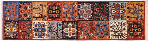 "A10335, 2' 8"" X  9' 3"",Transitional                  ,3' x 9',Rust,BLUE,Hand-knotted                  ,Pakistan   ,100% Wool  ,Runner     ,652671190681"