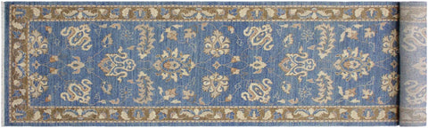 "A10337, 2' 7"" X 12' 4"",Transitional                  ,3' x 12',Blue,BROWN,Hand-knotted                  ,Pakistan   ,100% Wool  ,Runner     ,652671190704"