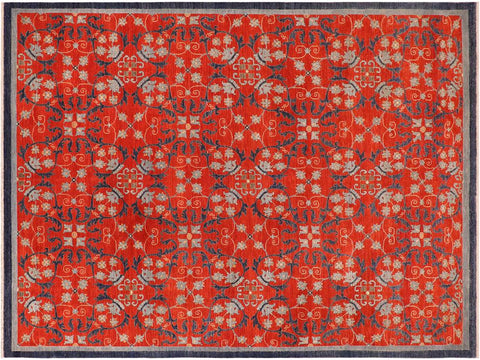 handmade Transitional Kafkaz Rust Blue Hand Knotted RECTANGLE 100% WOOL area rug 10' x 14'