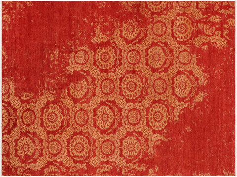 "A10351, 9' 1"" X 11' 9"",Modern                        ,9' x 12',Rust,GOLD,Hand-knotted                  ,Pakistan   ,100% Wool  ,Rectangle  ,652671190841"