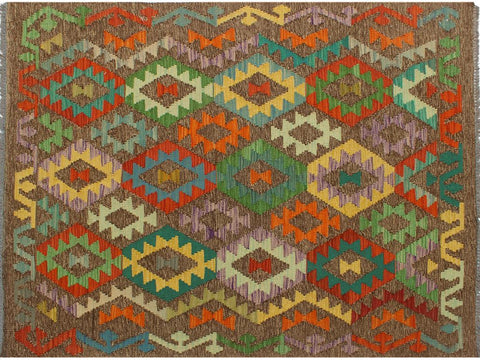 "A10428, 3' 8"" X  5' 3"",Geometric  ,3' x 5',Grey,GREEN,Hand-woven                    ,Pakistan   ,100% Wool  ,Rectangle  ,652671191602"