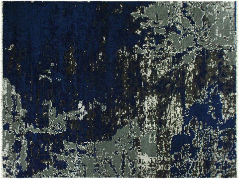 handmade Modern Abstract Blue Ivory Hand Knotted RECTANGLE WOOL&SILK area rug 4x6'