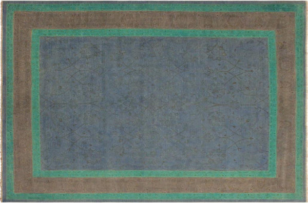 "A10468, 7'10"" X  9' 9"",Over Dyed                     ,8' x 10',Blue,GRAY,Hand-knotted                  ,Pakistan   ,100% Wool  ,Rectangle  ,652671192005"