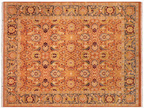 handmade Transitional Agra Orange Gray Hand Knotted RECTANGLE 100% WOOL area rug 8x10 Hand knotted indoor Pak Persian vegetable dyed area rug made for all rooms with high quality New Zealand wool in rich color pallet weaved by skilled artisans in traditional transitional design known for quality and affordable price. Oriental rug offered at cheap discount for any decor, with Persian weave(KPSI upto 300)