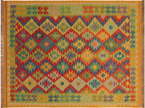 "A10534, 4'10"" X  6'10"",Geometric                     ,5' x 7',Gold,RED,Hand-woven                    ,Pakistan   ,100% Wool  ,Rectangle  ,652671192623"