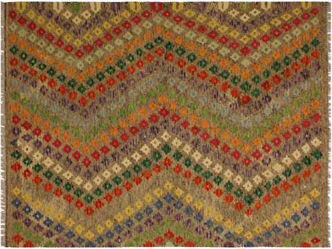 "A10568, 5' 3"" X  6' 7"",Geometric                     ,5' x 7',Brown,GREEN,Hand-woven                    ,Pakistan   ,100% Wool  ,Rectangle  ,652671192968"
