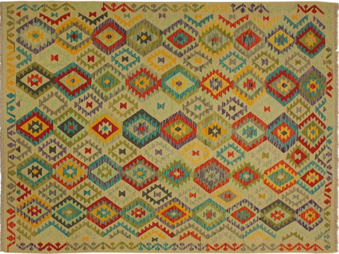 "A10571, 6' 9"" X 10' 0"",Geometric                     ,7' x 10',Natural,RED,Hand-woven                    ,Pakistan   ,100% Wool  ,Rectangle  ,652671192999"