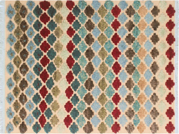 "A10575, 5' 0"" X  7' 7"",Modern                        ,5' x 8',Beige,BLUE,Hand-knotted                  ,Pakistan   ,100% Wool  ,Rectangle  ,652671193033"