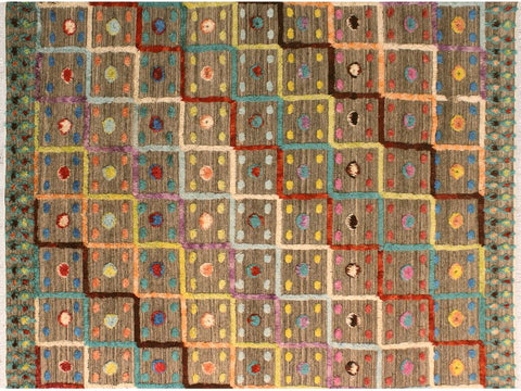 "A10579, 8' 2"" X 10' 3"",Modern                        ,8' x 10',Tan,BLUE,Hand-knotted                  ,Pakistan   ,100% Wool  ,Rectangle  ,652671193071"