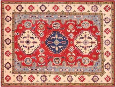 handmade Geometric Kazak Red Ivory Hand Knotted RECTANGLE 100% WOOL area rug 5 x 7