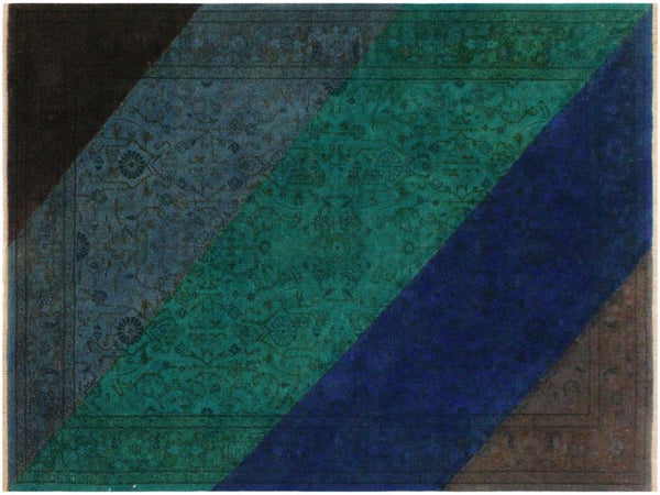 "A10606, 4' 1"" X  6' 0"",Over Dyed                     ,4' x 6',Blue,GREEN,Hand-knotted                  ,Pakistan   ,100% Wool  ,Rectangle  ,652671193347"