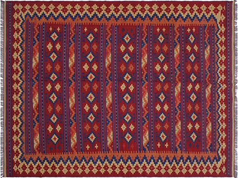 "A10648, 6' 4"" X  9' 7"",Geometric                     ,6' x 9',Red,BLUE,Hand-woven                    ,Afghanistan,100% Wool  ,Rectangle  ,652671197659"