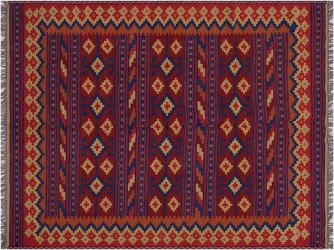 "A10652, 4'11"" X  6'10"",Geometric                     ,5' x 7',Red,BLUE,Hand-woven                    ,Afghanistan,100% Wool  ,Rectangle  ,652671197697"