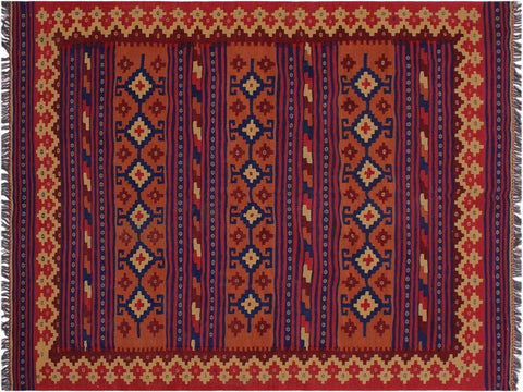 "A10655, 5' 5"" X  7'10"",Geometric                     ,5' x 8',Red,BLUE,Hand-woven                    ,Afghanistan,100% Wool  ,Rectangle  ,652671197727"