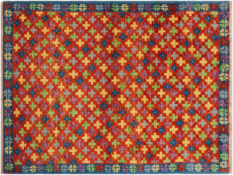 "A10726, 3' 3"" X  4' 9"",Geometric                     ,3 x 5,ORANGE RUST,TEAL,Hand-Knotted Rug                 ,Afghanistan,100% Wool  ,Rectangle  ,652671198434"