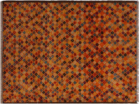 "A10727, 2' 8"" X  3'10"",Geometric                     ,3 x 4,Orange,LT. BLUE,Hand-Knotted Rug                 ,Afghanistan,100% Wool  ,Rectangle  ,652671198441"