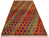 handmade Geometric Tribal Modern Balochi Orange Blue Hand-Knotted RECTANGLE 100% WOOL area rug 3x5 Hand knotted indoor Afghan Balochi area rug made for all rooms with high quality wool in rich color pallet handmade by skilled artisans in geometric, transitional, tribal design are known for high quality and affordable price. Oriental rug offered at cheap discount for any decor. Balochi Baluchi Baluch soft wool rug
