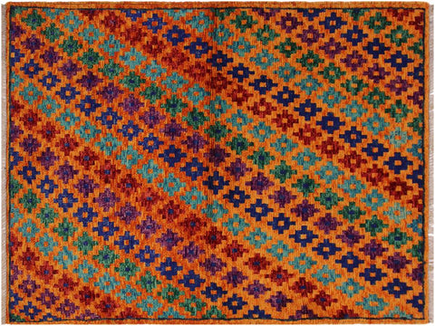 "A10728, 3' 4"" X  4'10"",Geometric                     ,3 x 5,Orange,BLUE,Hand-Knotted Rug                 ,Afghanistan,100% Wool  ,Rectangle  ,652671198458"