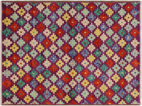 "A10731, 3' 6"" X  4'10"",Geometric                     ,3 x 5,Purple,IVORY,Hand-Knotted Rug                 ,Afghanistan,100% Wool  ,Rectangle  ,652671198489"