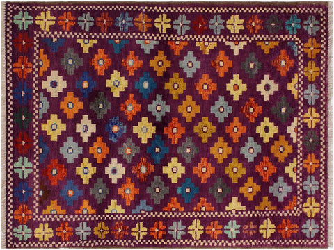 "A10737, 3' 4"" X  4'11"",Geometric                     ,3 x 5,Purple,GREEN,Hand-Knotted Rug                 ,Afghanistan,100% Wool  ,Rectangle  ,652671198540"