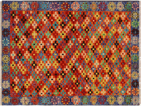 "A10739, 3' 4"" X  4'11"",Geometric                     ,3 x 5,Orange,BLUE,Hand-Knotted Rug                 ,Afghanistan,100% Wool  ,Rectangle  ,652671198564"