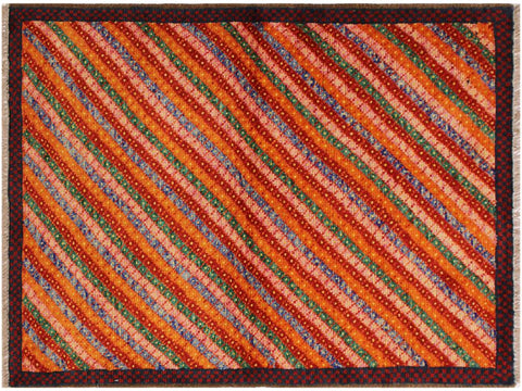 "A10743, 3' 2"" X  4'10"",Geometric                     ,3 x 5,Orange,RED,Hand-Knotted Rug                 ,Afghanistan,100% Wool  ,Rectangle  ,652671198601"