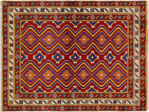 "A10744, 3' 5"" X  4'10"",Geometric                     ,3 x 5,Red,IVORY,Hand-Knotted Rug                 ,Afghanistan,100% Wool  ,Rectangle  ,652671198618"