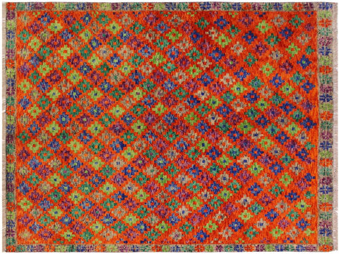 "A10754, 4' 8"" X  6' 4"",Geometric                     ,5' x 6',Orange,GREEN,Hand-knotted                  ,Afghanistan,100% Wool  ,Rectangle  ,652671198717"