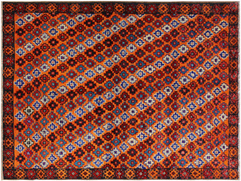 handmade Geometric Tribal Modern Balouchi Orange Black Hand-Knotted RECTANGLE 100% WOOL area rug 5x7 Hand knotted indoor Afghan Balouchi area rug made for all rooms with high quality wool in rich color pallet handmade by skilled artisans in geometric, transitional, tribal design are known for high quality and affordable price. Oriental rug offered at cheap discount for any decor. Balochi Baluchi Baluch soft wool rug